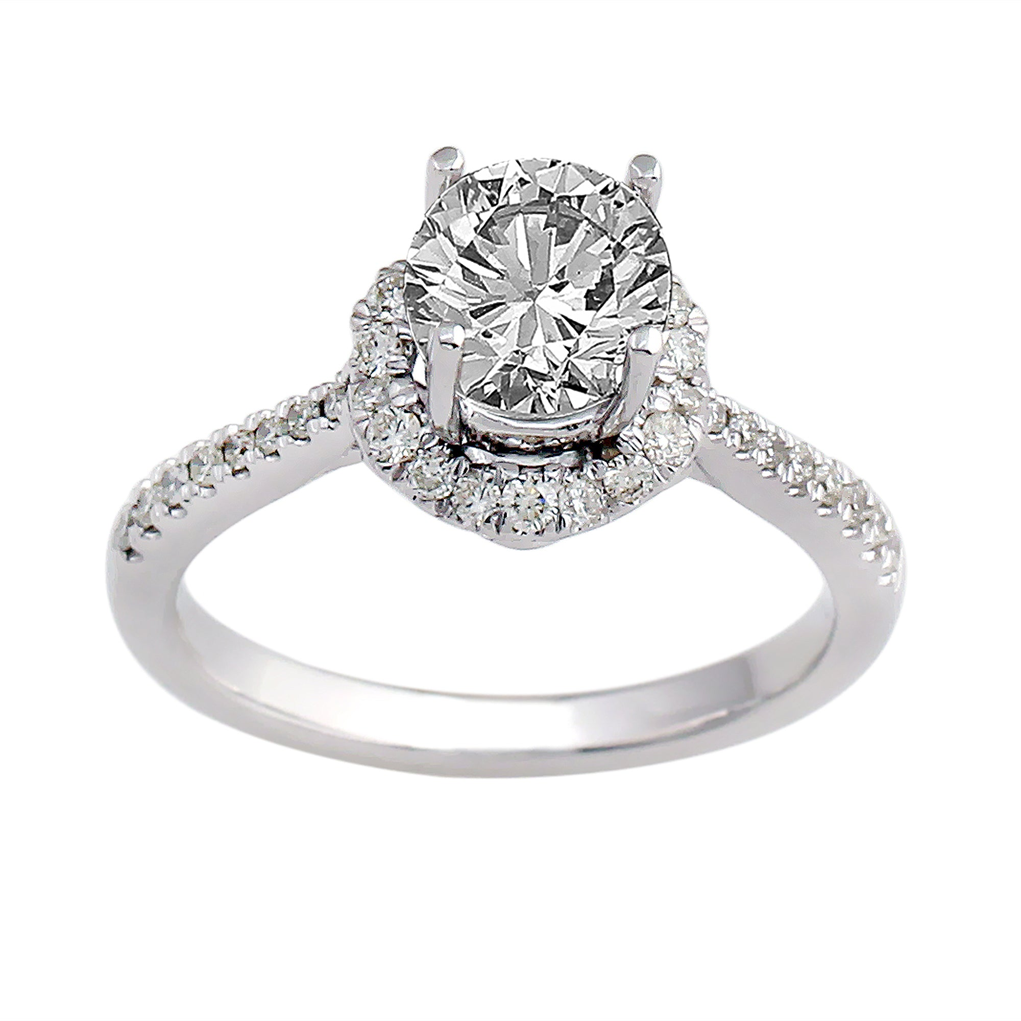 14K White Gold 0.35CTTW Lab-Grown Diamond Semi-Mount Ring