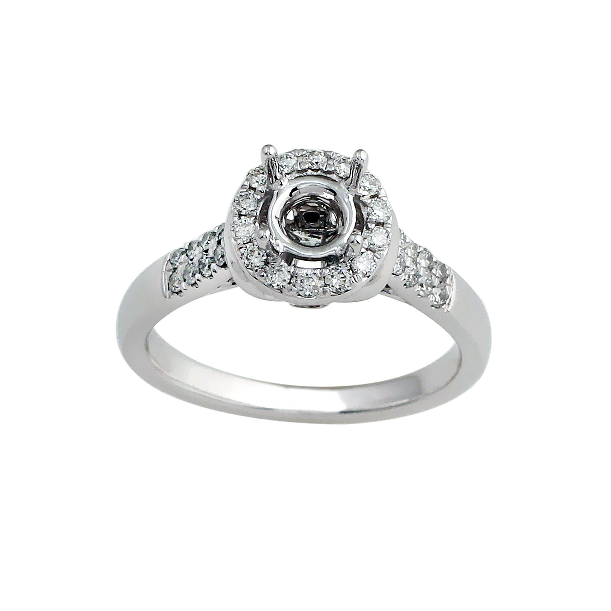 14K White Gold 2.19CTTW Lab-Grown Diamond Semi-Mount Ring