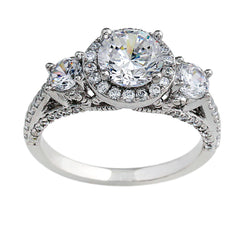 14K White Gold 2.50CTTW 3 Stone Lab-Grown Diamond Ring