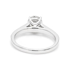 14K White Gold 1.25 CTW Lab Grown Diamond Solitaire Ring With Pave Band