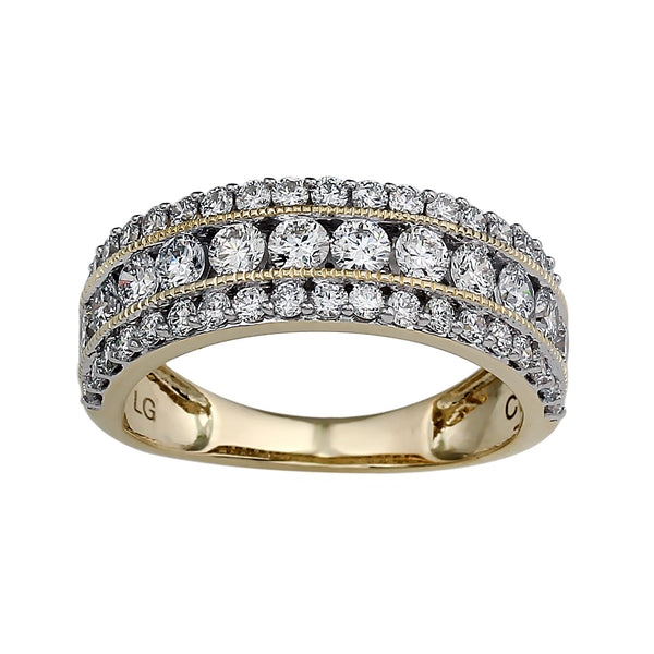 14K Yellow Gold 1.50CTTW Lab Grown Diamond 3 Row Band