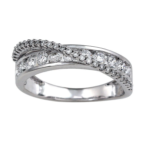14K White Gold 0.82CTTW Lab Grown Diamond Channel Pavé Crossover Band