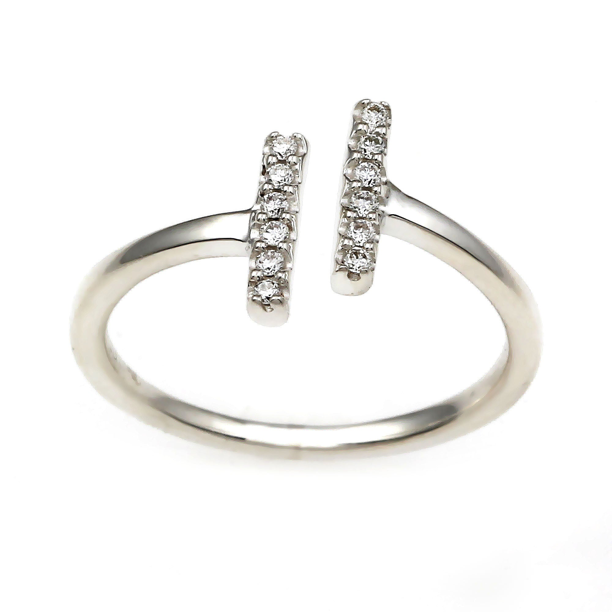Flash Double Bar Lab-Grown Diamond Ring - Sterling Silver (.10 ct. tw.)