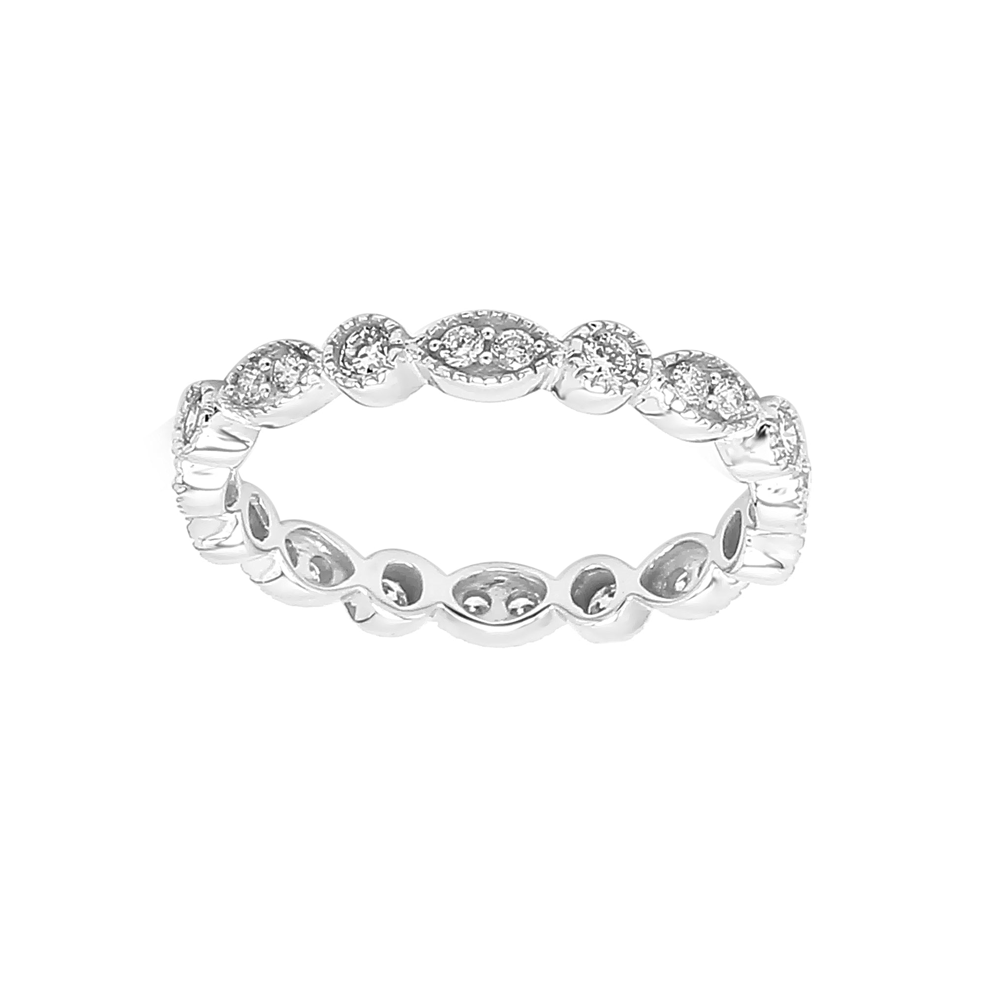 14K White Gold 0.50CTTW Lab Grown Diamond Milgrain Multi Shape Band