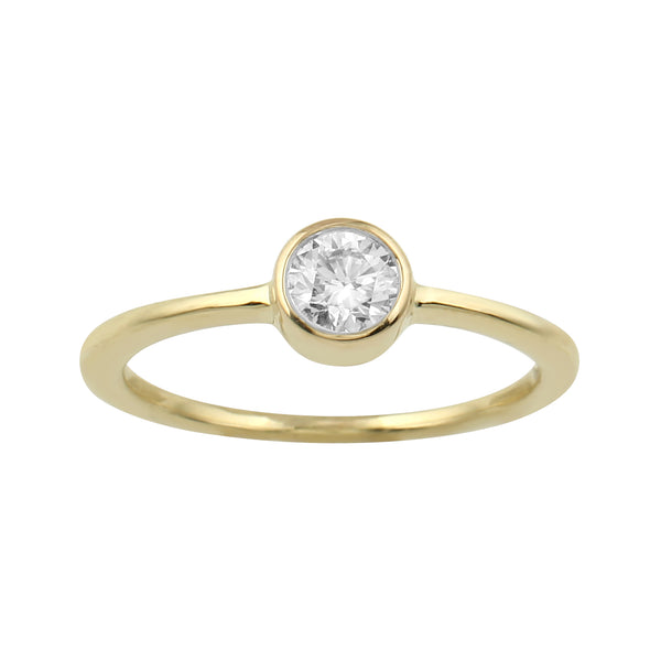 14K Yellow Gold 0.40CTTW Lab Grown Diamond Bezel Set Solitaire Ring