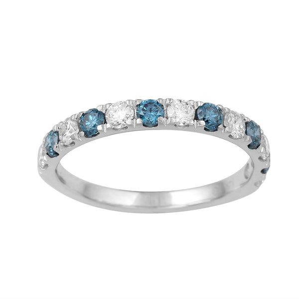 14K White Gold 0.89CTTW Blue and White Lab Grown Diamond Band