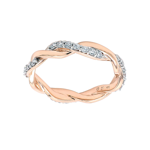14K Rose Gold 0.50CTTW Lab Grown Diamond Twisted Band