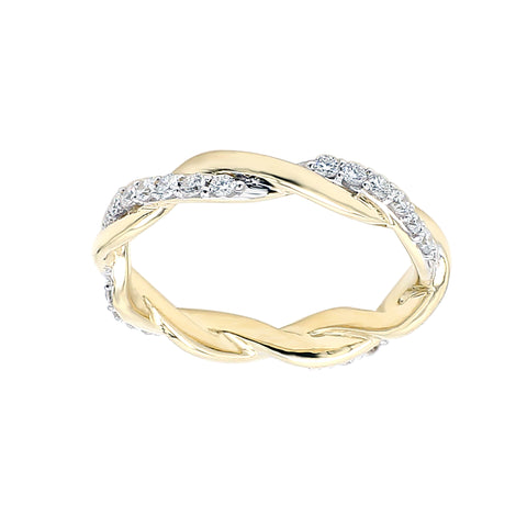 14K Yellow Gold 0.50CTTW Lab Grown Diamond Twisted Band