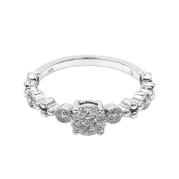 14K White Gold Diamond Cluster Stacking Ring (0.40 ct. tw.)