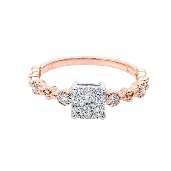 14K Rose Gold Diamond Cluster Stacking Ring (0.40 ct. tw.)