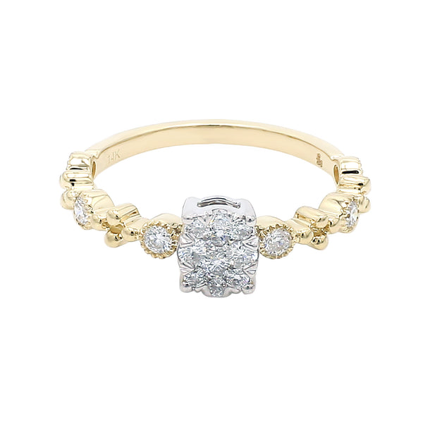 14K Yellow Gold Diamond Cluster Stacking Ring (0.40 ct. tw.)