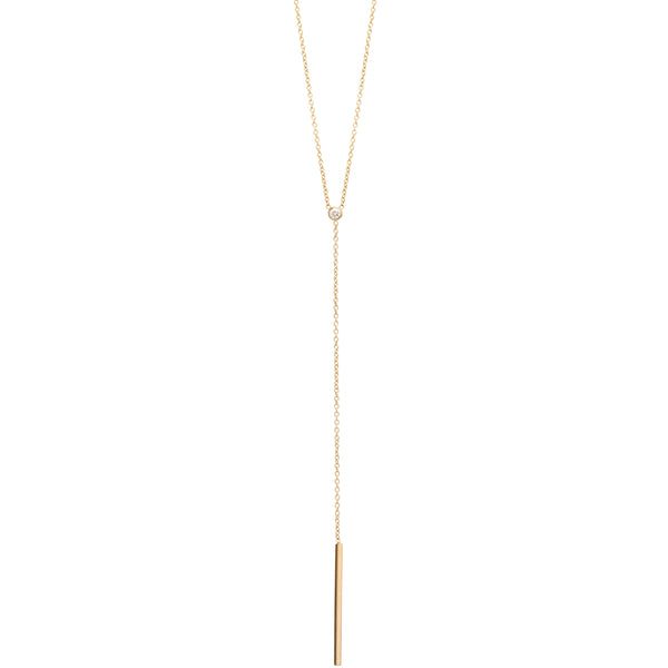 14K DIAMOND BAR LARIAT NECKLACE