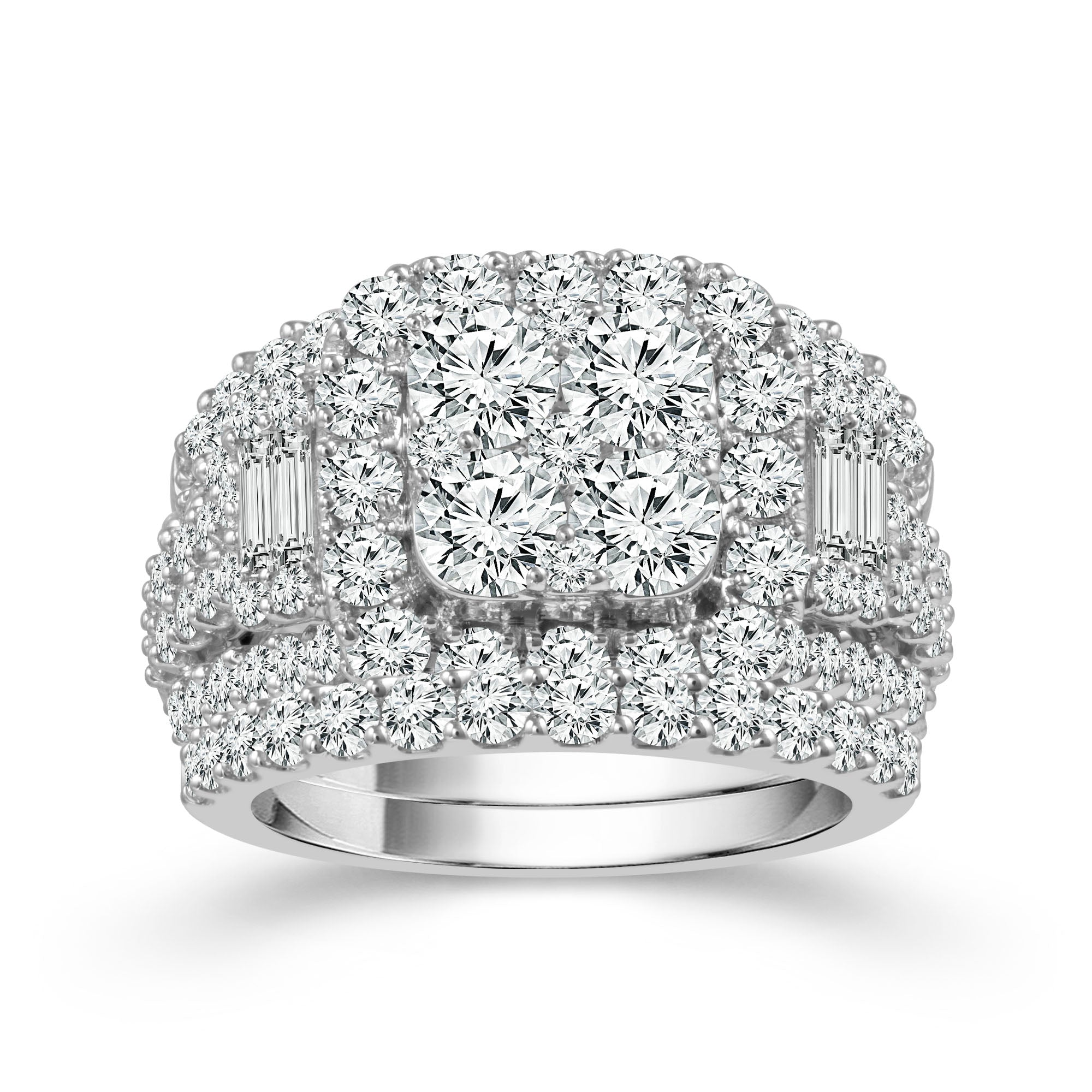 14K White Gold 4.00 CTW Diamond Ring with Bands