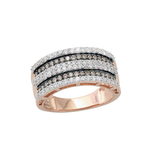 1.0 CTW Brown and White Round Diamond Wide Band Ring