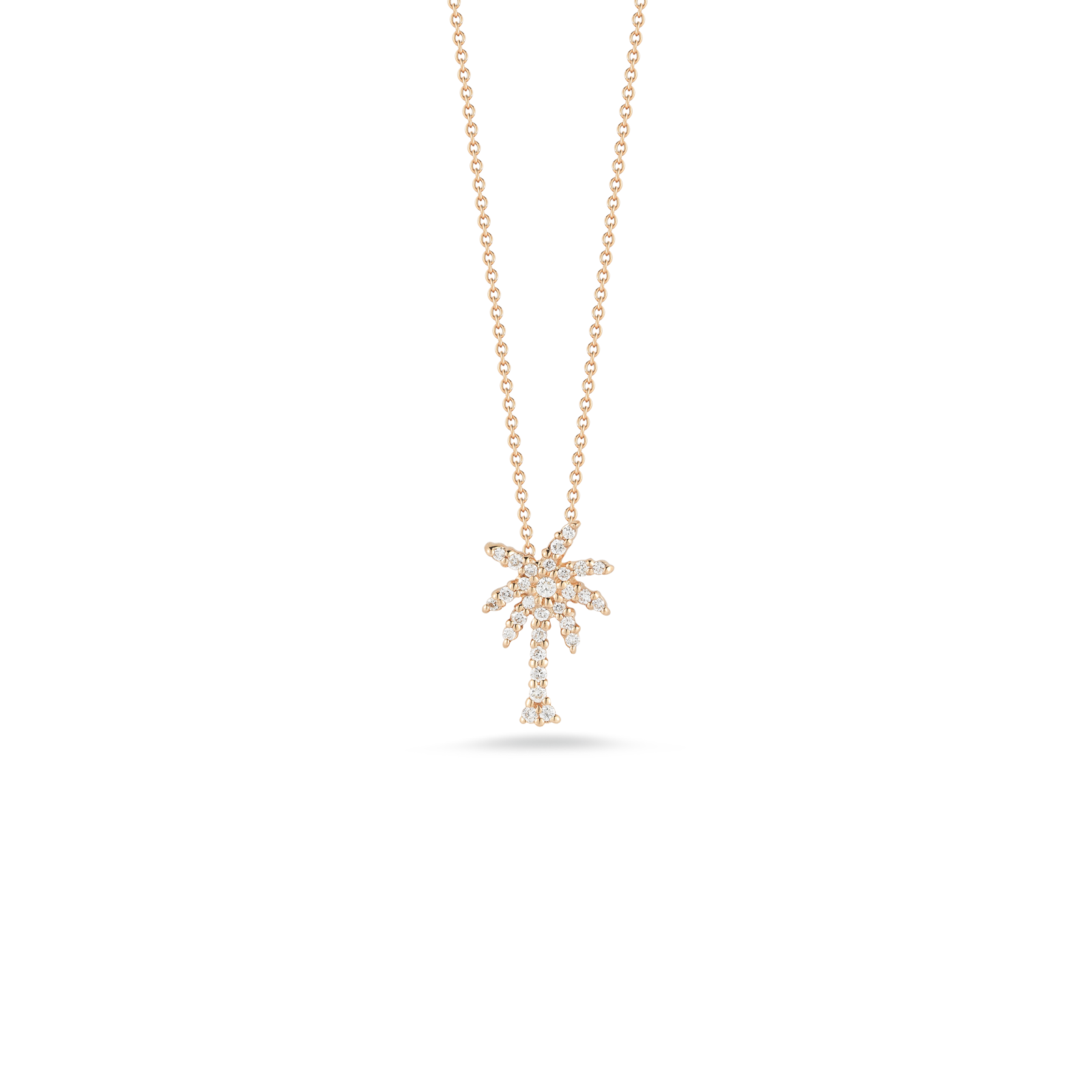 18K Yellow Gold Palm Tree Pendant With Diamonds