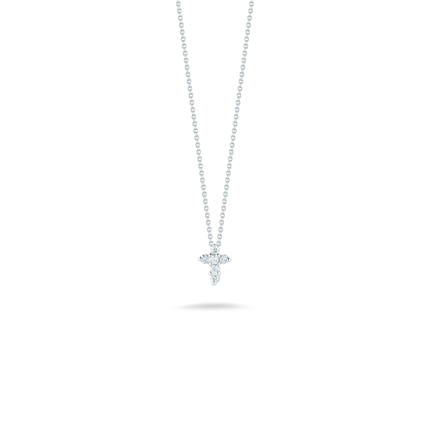 18K White Gold Baby Cross Pendant With Diamonds