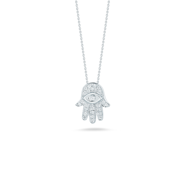 18K White Gold Hamsa Pendant With Diamonds