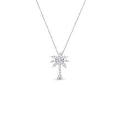 18K White Gold Large Palm Tree Pendant With Diamonds