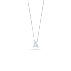 18K White Gold Love Letter A Pendant With Diamonds