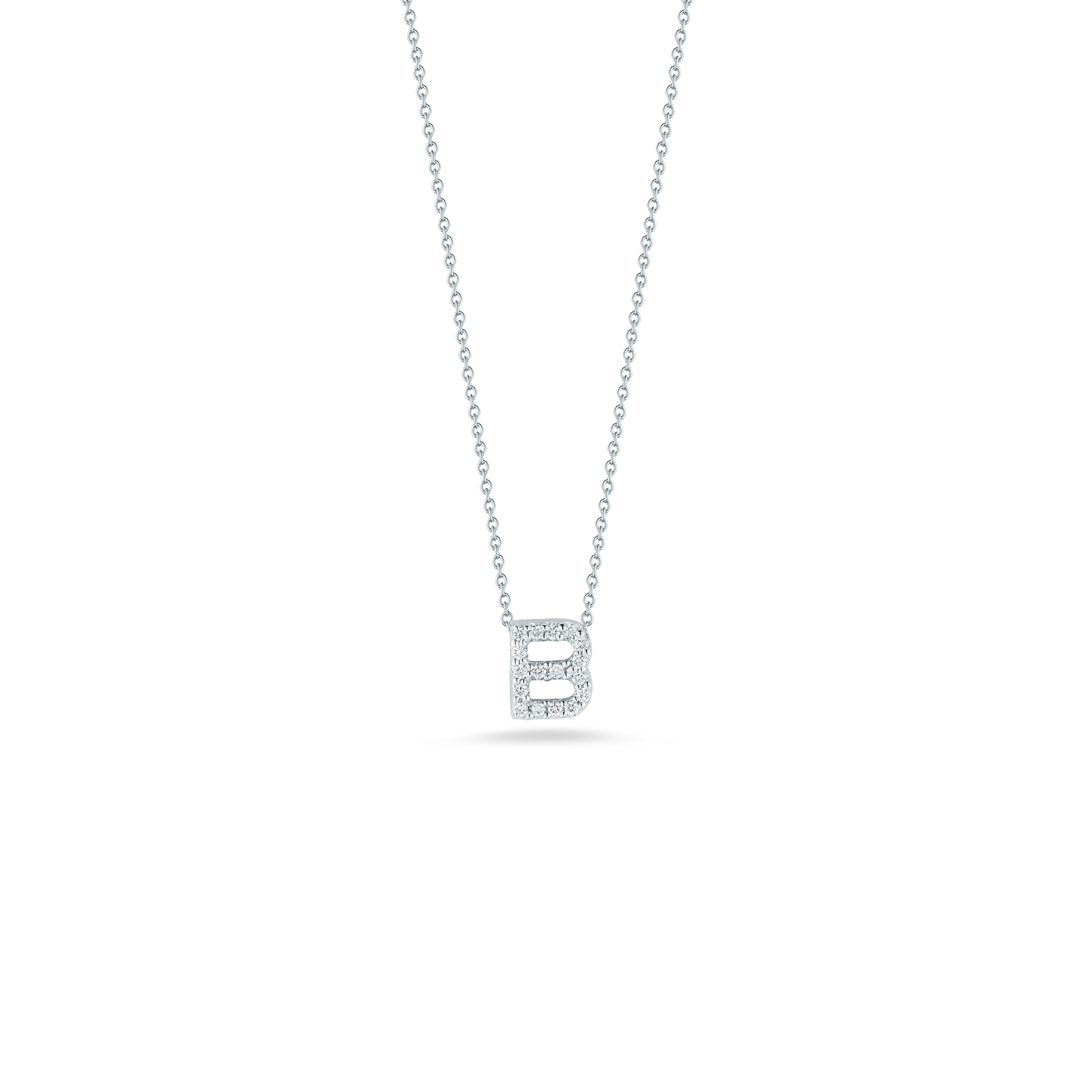 18K White Gold Love Letter B Pendant With Diamonds