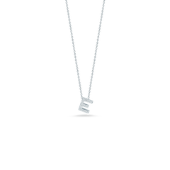 18K White Gold Love Letter E Pendant With Diamonds