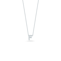 18K White Gold Love Letter F Pendant With Diamonds