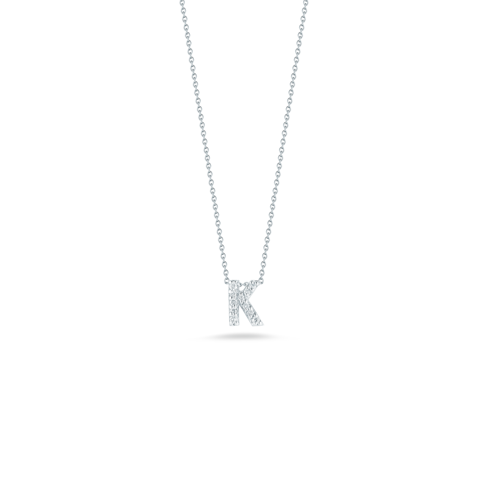 18K White Gold Love Letter K Pendant With Diamonds