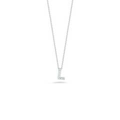 18K White Gold Love Letter L Pendant With Diamonds