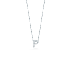 18K White Gold Love Letter P Pendant With Diamonds