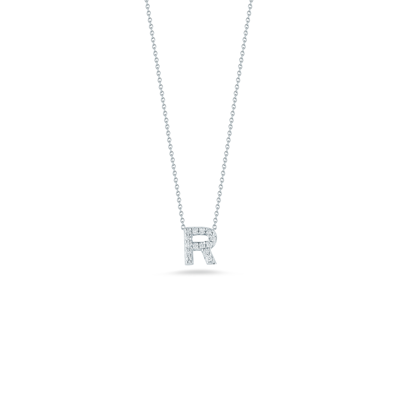 18K White Gold Love Letter R Pendant With Diamonds
