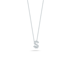 18K White Gold Love Letter S Pendant With Diamonds