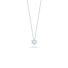 18K White Gold Star of David Pendant With Diamond