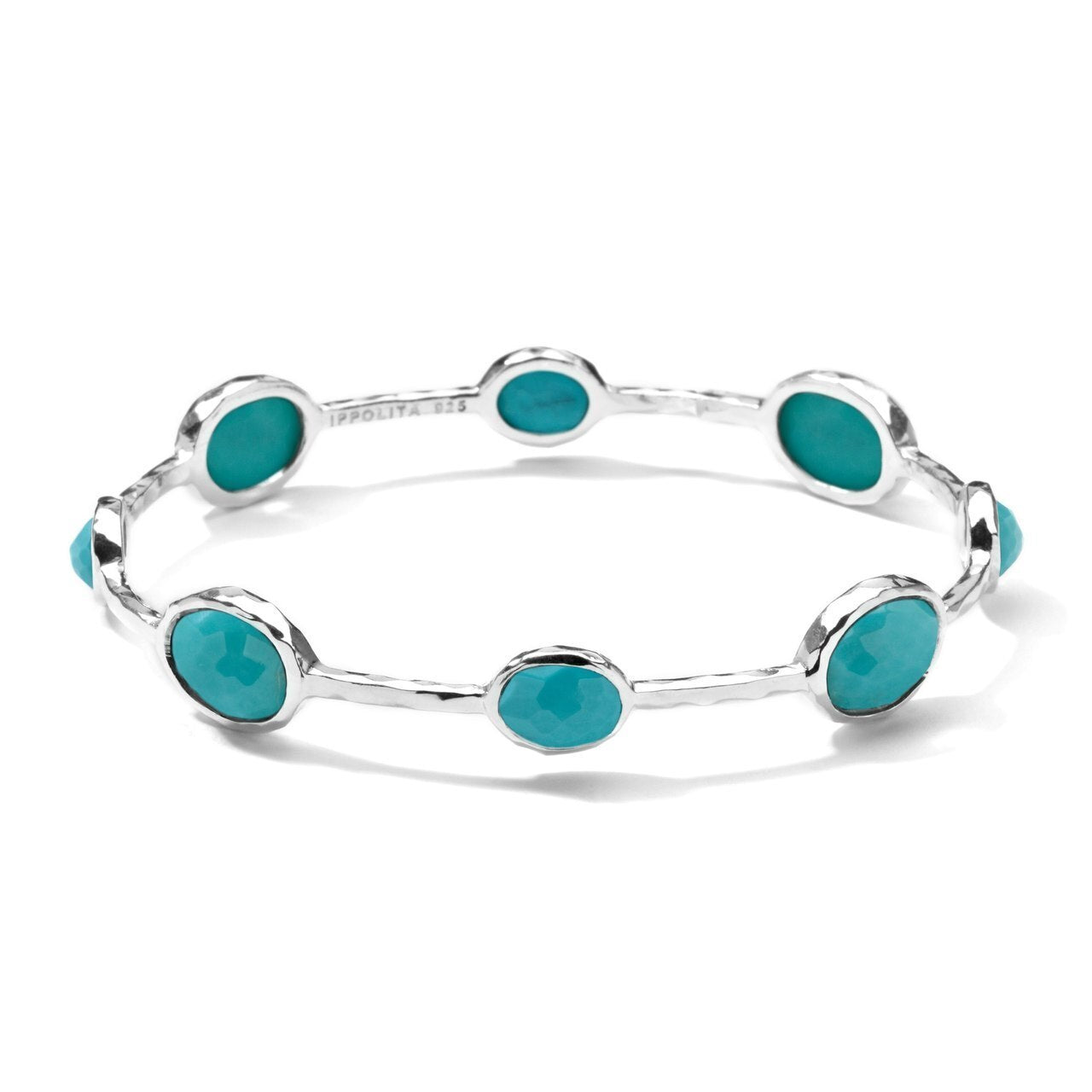 Rock Candy Sterling Silver 8-Stone Bangle Turquoise