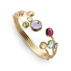 18K Yellow Gold & Mixed Gemstones Three Row Bangle