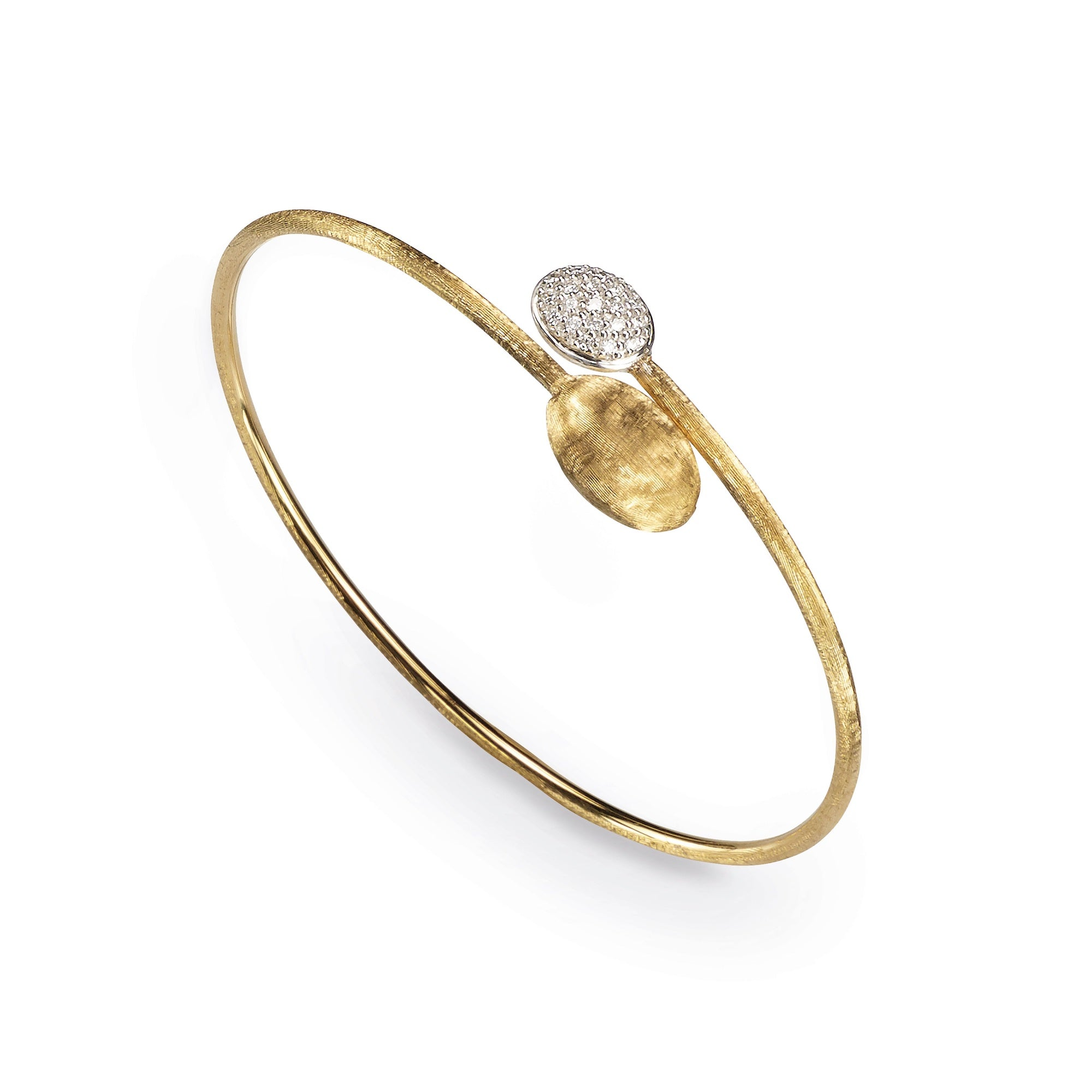 18K Yellow Gold Bead & Diamond Bypass Bangle
