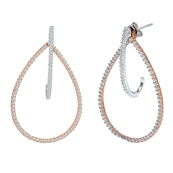14k Rose and White Gold Jacket and J-Hoop Earrings (0.75 ct. tw.)