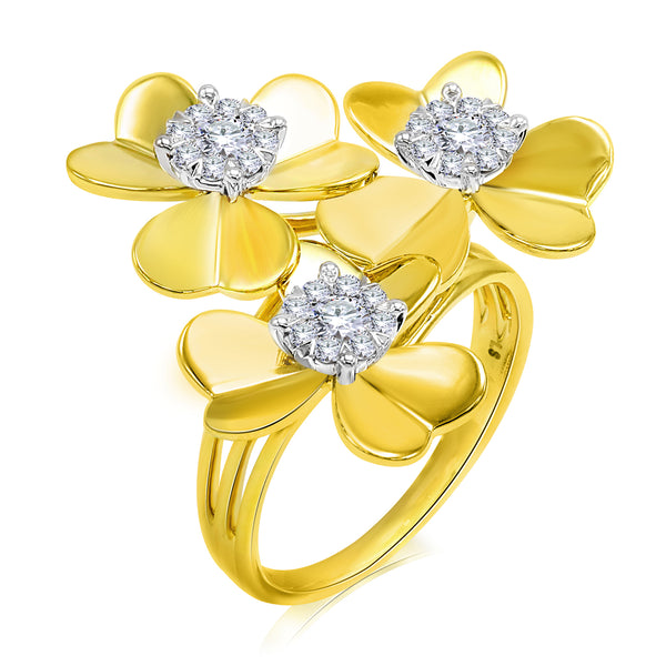 14k Yellow Gold Three Diamond Flower Ring (0.50 ct. tw.)