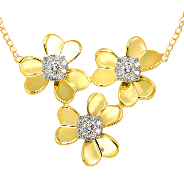14k Yellow Gold Three Diamond Flower Necklace (0.50 ct. tw.)
