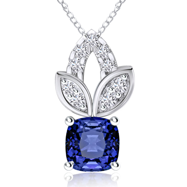 14K White Gold Tanzanite Leaf Pendant with Diamond Accents
