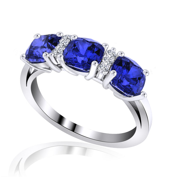 14K White Gold Three Stone Tanzanite Ring with Diamonds