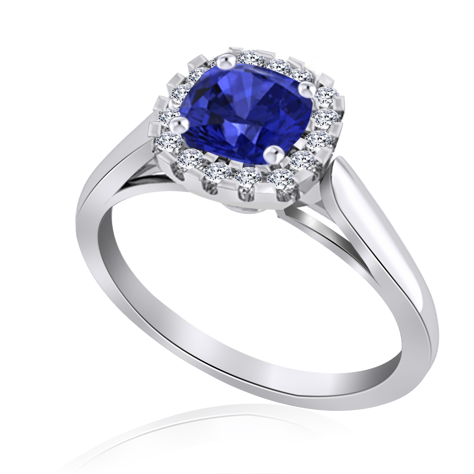 14K White Gold Tanzanite Ring with Diamond Halo