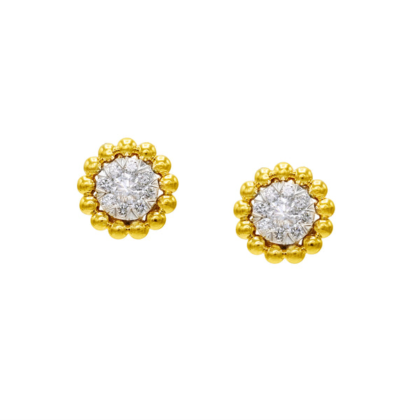 14k Yellow Gold Beaded Halo Diamond Earrings (0.50 ct. tw.)