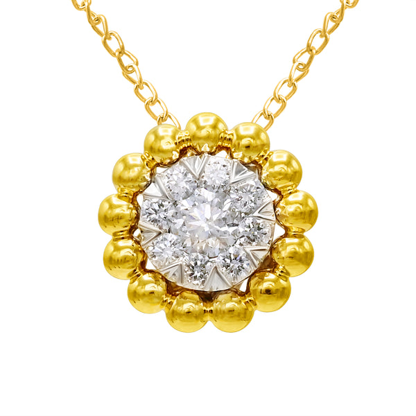 14k Yellow Gold Beaded Halo Diamond Necklace (0.50 ct. tw.)