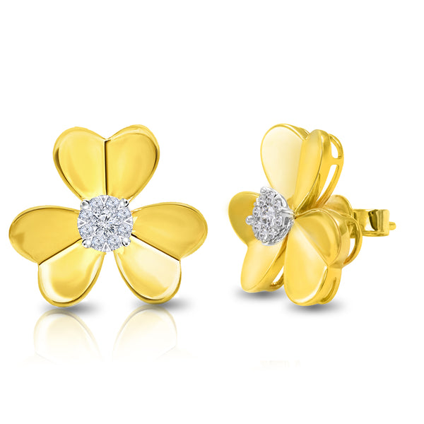 14k Yellow Gold Single Diamond Flower Stud Earrings (0.33 ct. tw.)