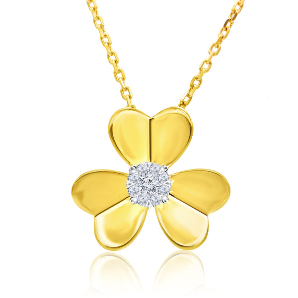 14k Yellow Gold Single Diamond Flower Pendant (0.20 ct. tw.)