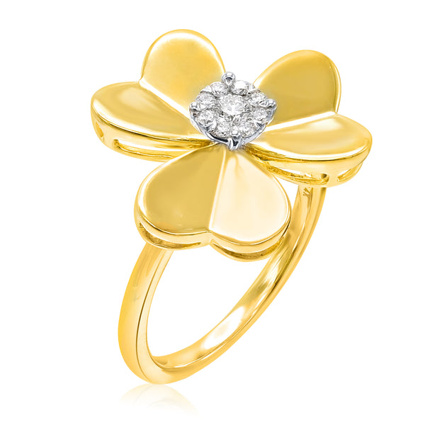14k Yellow Gold Single Diamond Flower Ring (0.20 ct. tw.)