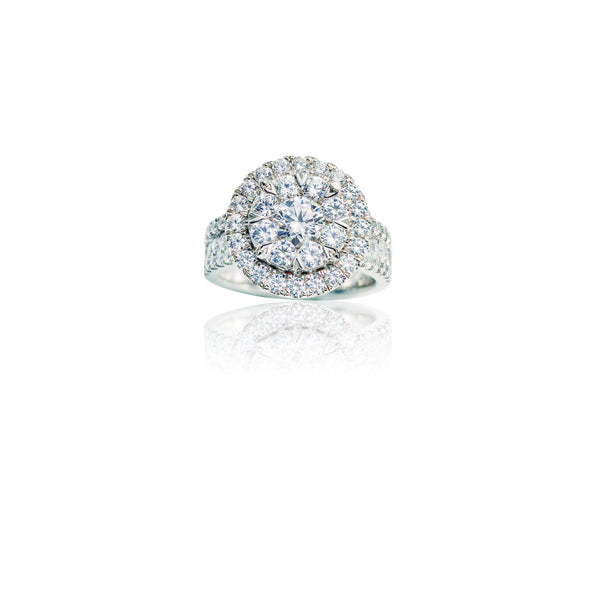 3.00 CTW Diamond Cluster Round Halo Ring