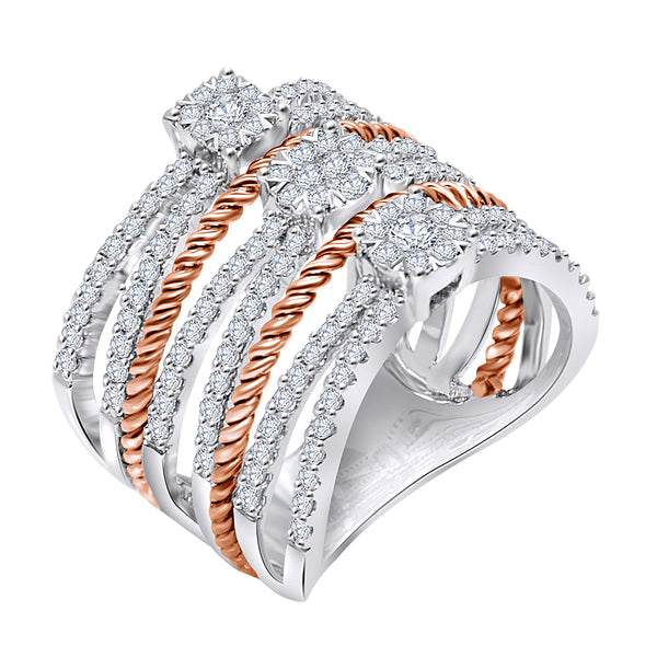 14K White and Rose Gold Multi Row Diamond Ring (1.25 ct. tw.)