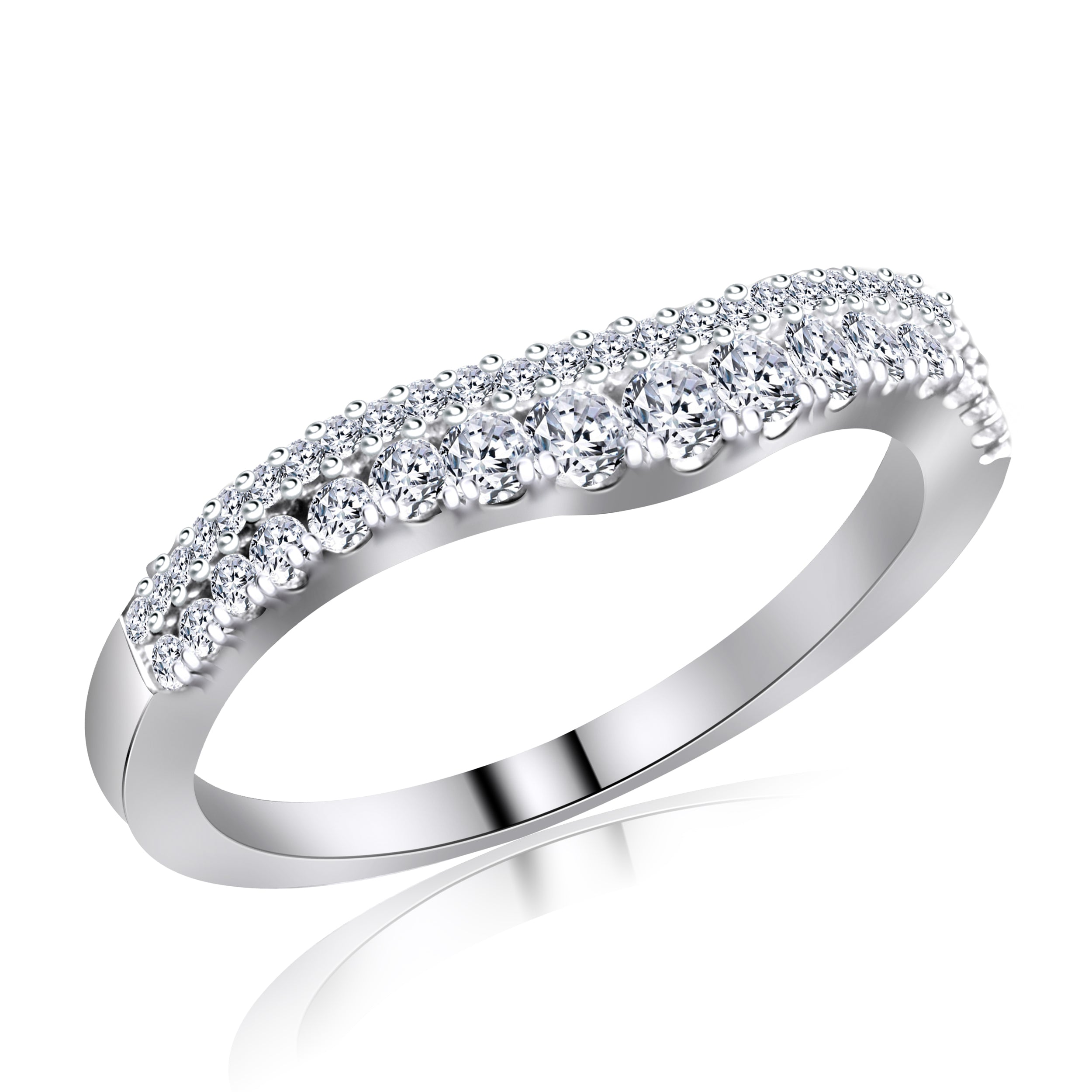 14KT White Gold Fancy Double Row Diamond Band ( 0.41 ct. tw.)