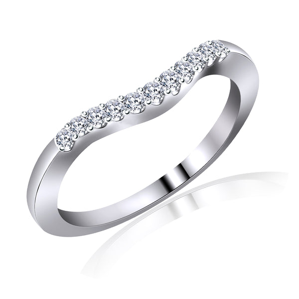 14KT White Gold Curved Diamond Band (0.25 ct. tw.)